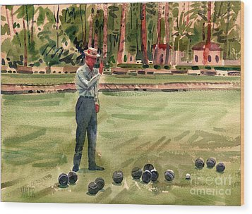 On The Bowling Green Wood Print by Donald Maier