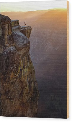 On The Edge Wood Print by Nicki Frates