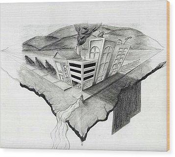 On The Edge Wood Print by Sean Keir Walburn