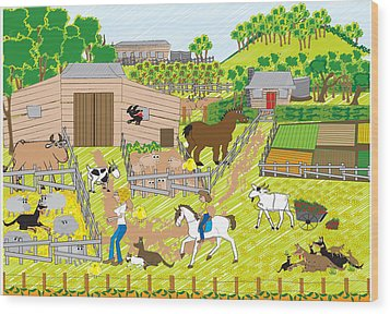 On The Farm Wood Print by Diana-Lee Saville