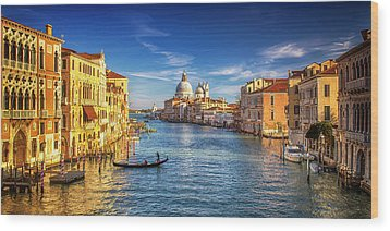 Wood Print featuring the photograph On The Grand Canal by Andrew Soundarajan