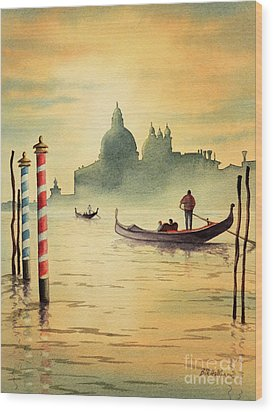 Wood Print featuring the painting On The Grand Canal Venice Italy by Bill Holkham