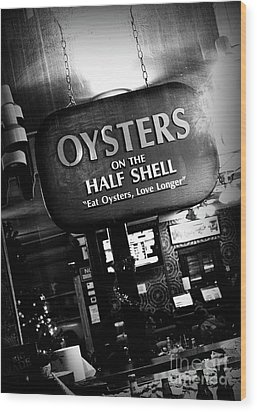 On The Half Shell - Bw Wood Print