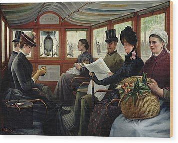 On The Omnibus Wood Print by Maurice Delondre
