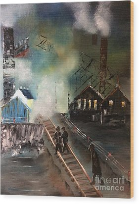 Wood Print featuring the painting On The Pennsylvania Tracks by Denise Tomasura