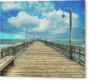 On The Pier At Tybee Wood Print