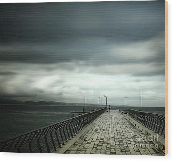 Wood Print featuring the photograph On The Pier by Perry Webster