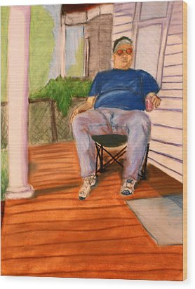 On The Porch With Uncle Pervy Wood Print by Jean Haynes
