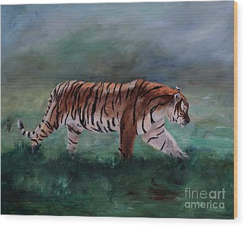 Wood Print featuring the painting On The Prowl by Brenda Thour