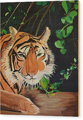 On The Prowl Wood Print by Donna Blossom