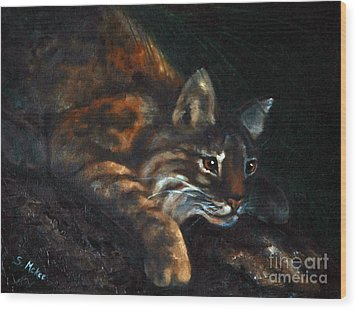 Wood Print featuring the painting On The Prowl by Suzanne McKee