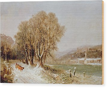 On The River Neckar Near Heidelberg Wood Print by Joseph Paul Pettit