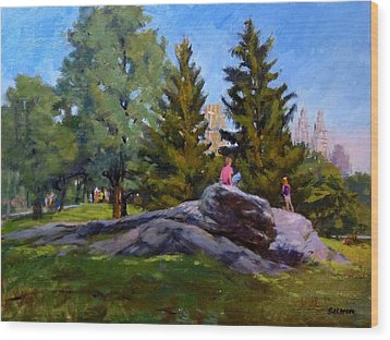 On The Rocks In Central Park Wood Print by Peter Salwen