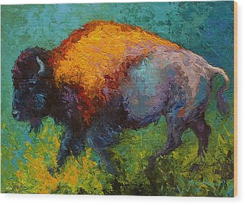 On The Run - Bison Wood Print by Marion Rose