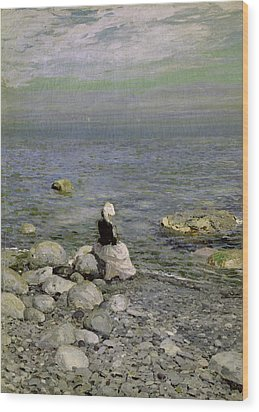 On The Shore Of The Black Sea Wood Print by Konstantin Alekseevich Korovin