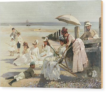 On The Shores Of Bognor Regis Wood Print by Alexander M Rossi