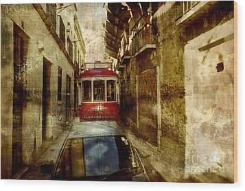 Wood Print featuring the photograph On The Streets Of Lisbon by Dariusz Gudowicz