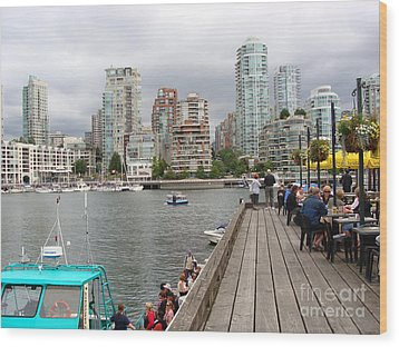 On The Water At False Creek Vancouver Wood Print by Rod Jellison