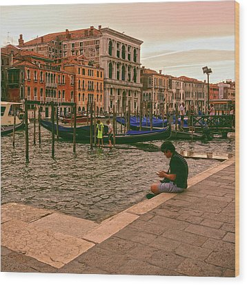 Wood Print featuring the photograph On The Waterfront by Anne Kotan
