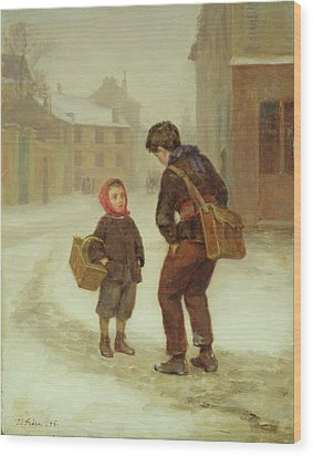 On The Way To School In The Snow Wood Print by Pierre Edouard Frere