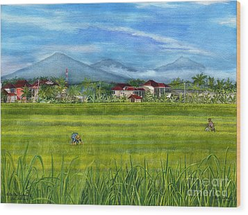 Wood Print featuring the painting On The Way To Ubud 3 Bali Indonesia by Melly Terpening