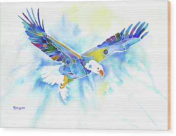 On The Wings Of An Eagle Wood Print by Jo Lynch