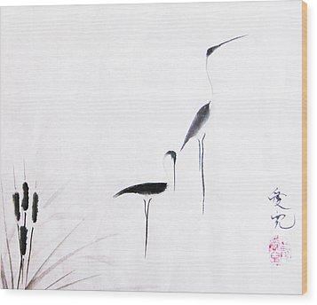 On Typha Pond Wood Print