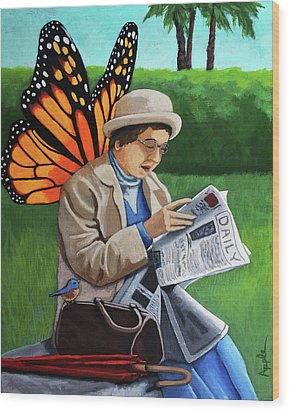 Wood Print featuring the painting On Vacation -butterfly Angel Painting by Linda Apple