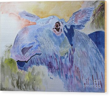 Once In A Blue Moose Wood Print by Sandy McIntire