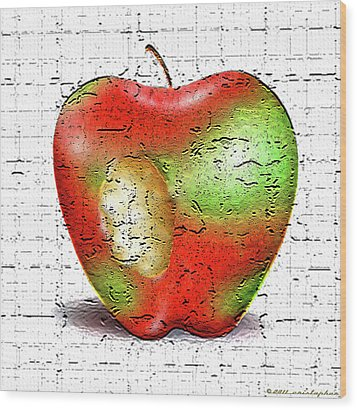 One Bad Apple Wood Print by Cristophers Dream Artistry