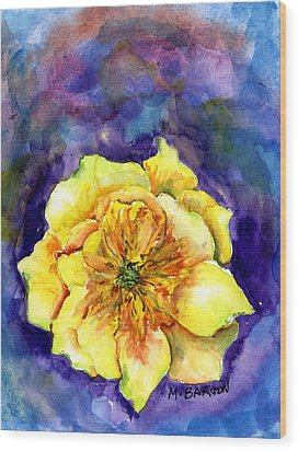One Cactus Flower Wood Print by Marilyn Barton