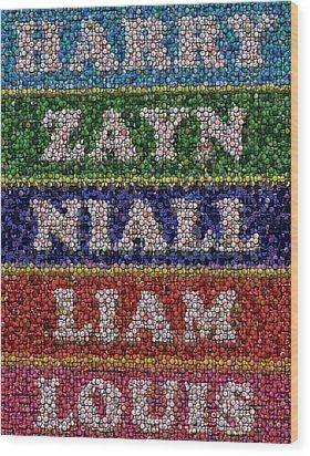 One Direction Names Bottle Cap Mosaic Wood Print by Paul Van Scott