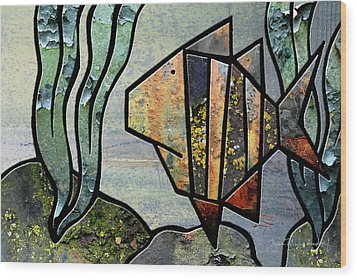 One Fish Wood Print by Joan Ladendorf