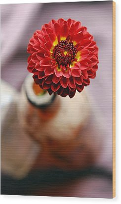 One Flower In Old Bottle Wood Print by Laura Mountainspring