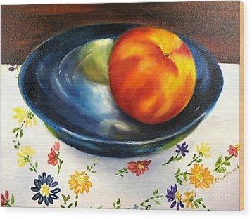 One Good Peach Wood Print by Carol Sweetwood
