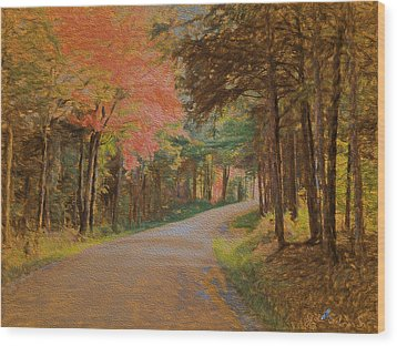 One More Country Road Wood Print by John Selmer Sr