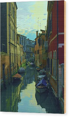 one of the many Venetian canals at the end of a Sunny summer day Wood Print
