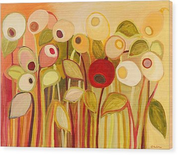 One Red Posie Wood Print by Jennifer Lommers