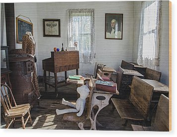 Wood Print featuring the photograph One Room Schoolhouse by Ann Bridges