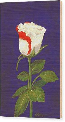 Wood Print featuring the pastel One Rose by Anastasiya Malakhova