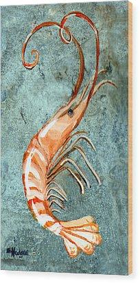 One Shrimp Wood Print by Elaine Hodges