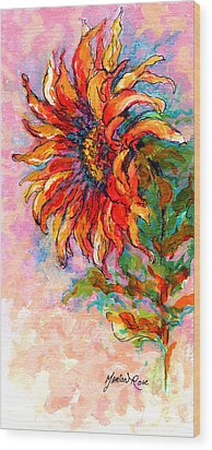 One Sunflower Wood Print by Marion Rose