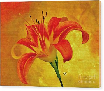 Wood Print featuring the photograph One Tigerlily by Marsha Heiken