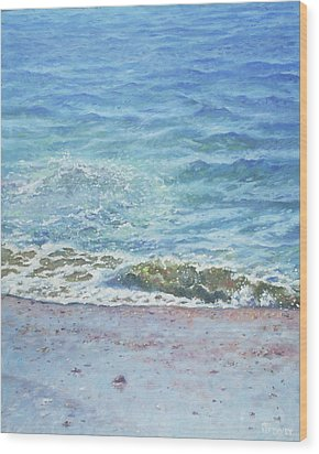 Wood Print featuring the painting One Wave by Martin Davey