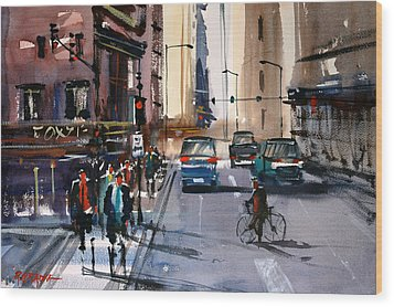 One Way Street - Chicago Wood Print