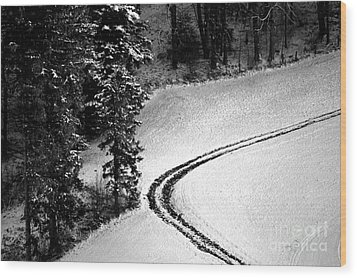 Wood Print featuring the photograph One Way - Winter In Switzerland by Susanne Van Hulst