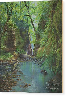 Oneonta Gorge Wood Print by Jeanette French