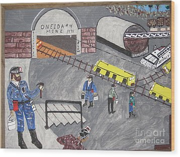 Wood Print featuring the painting Onieda Coal Mine by Jeffrey Koss
