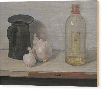 Onion And Garlic,tin Can, And Painting Medium Bottle Wood Print