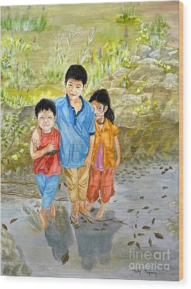 Wood Print featuring the painting Onion Farm Children Bali Indonesia by Melly Terpening